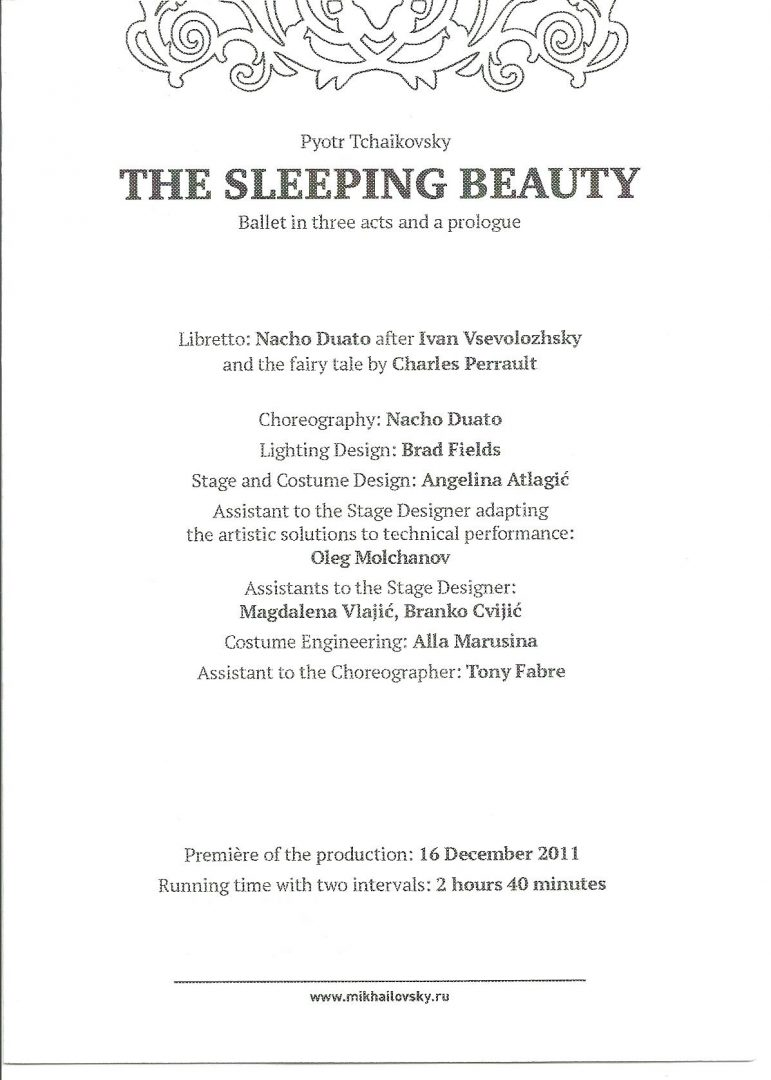 the sleeping beauty by nacho duato programme