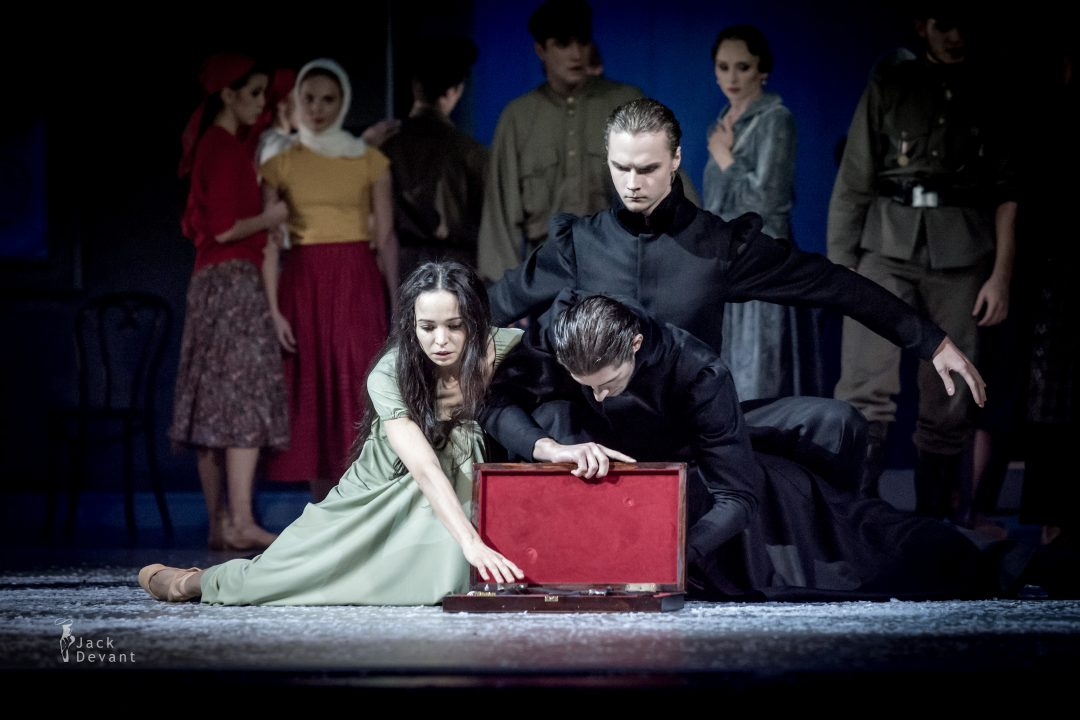Diana Vishneva and Denis Dmitriev and Artem Sorochan as Zaretsky in Tatiana