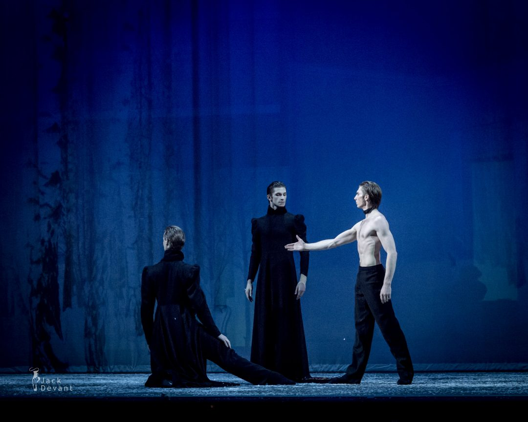 Dmitry Sobolevsky, Denis Dmitriev and Artem Sorochan as Zaretsky in Tatiana