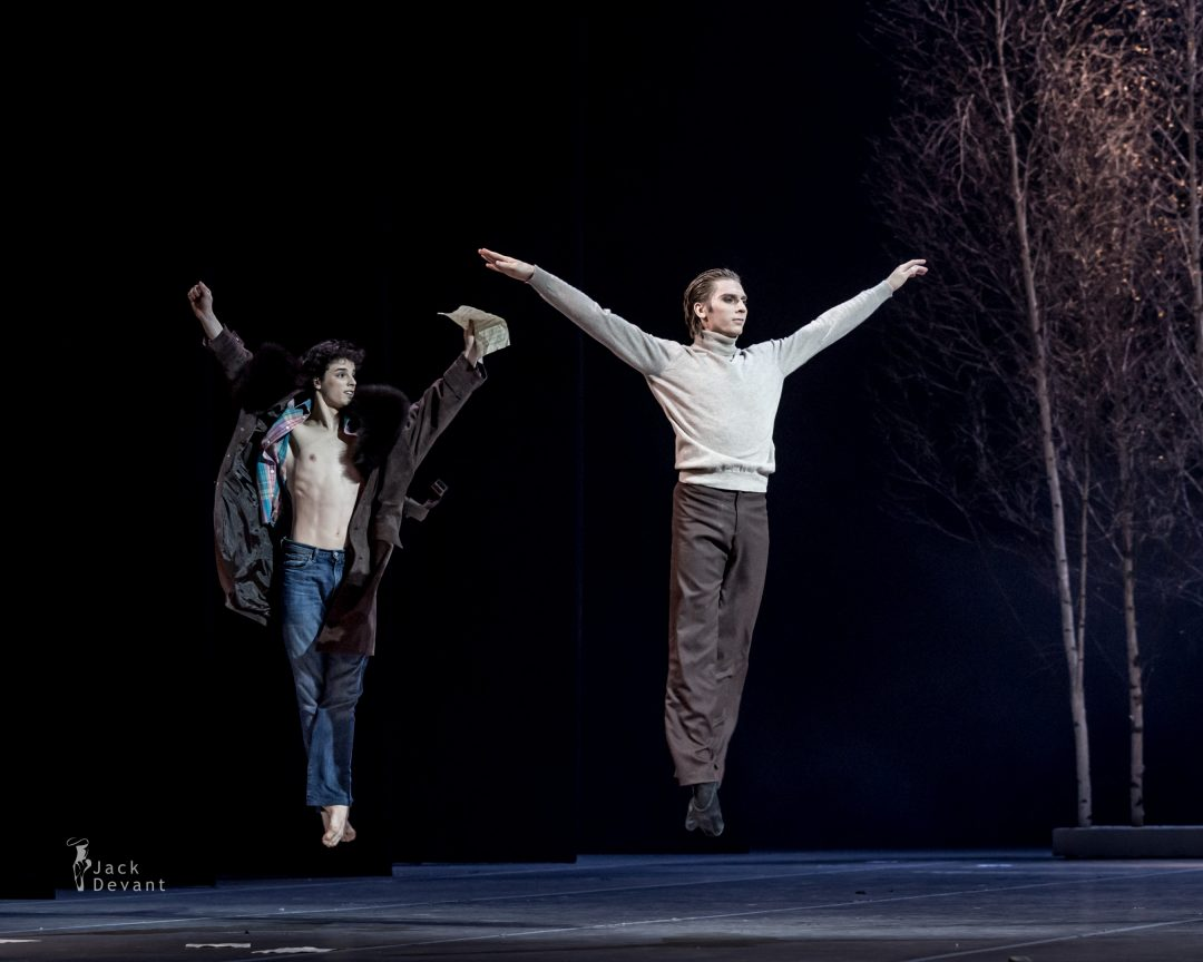 Dmitry Sobolevsky as Eugene Onegin and Aleksey Babaev as Vladimir Lensky in Tatiana