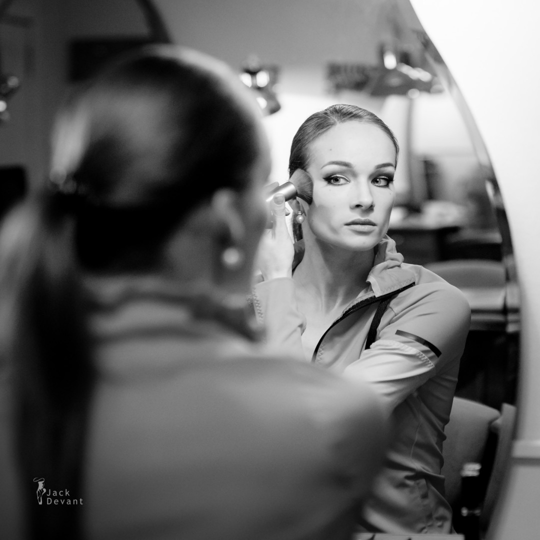 Prima ballerina Ekaterina Borchenko preparing for the performance