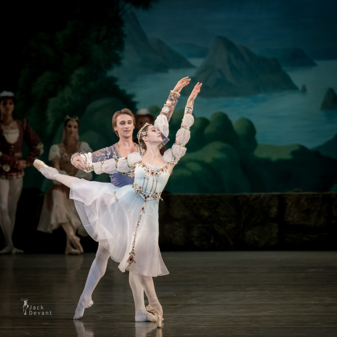 Nadezhda Batoeva, Yekaterina Ivannikova, Philipp Stepin as the Prince's Friends in Swan Lake