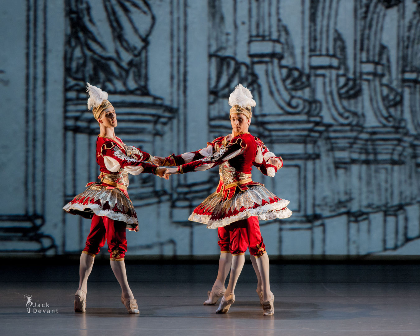 Philipp Stepin, Soslan Kulaev, Denis Zainetdinov, Evgeny Konovalov, Alexander Saveliev, Vasily Tkachenko in Divertissement of the King, music by Jean-Philippe Rameau, choreography by Maxim Petrov.
