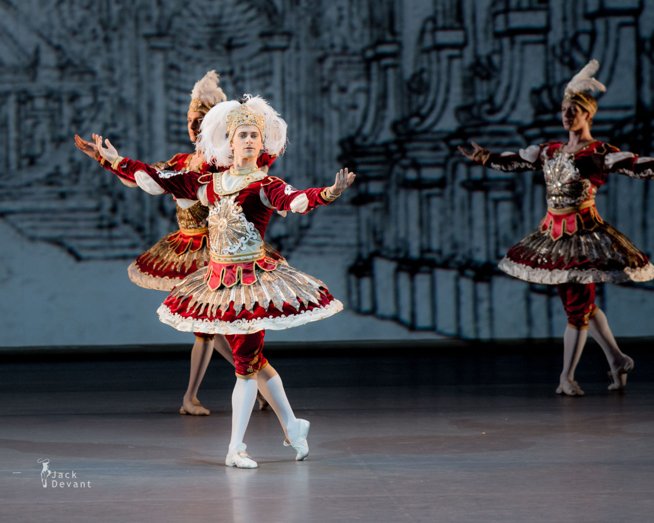 Philipp Stepin, Soslan Kulaev, Denis Zainetdinov, Evgeny Konovalov, Alexander Saveliev, Vasily Tkachenko in Divertissement of the King, music by Jean-Philippe Rameau, choreography by Maxim Petrov 2