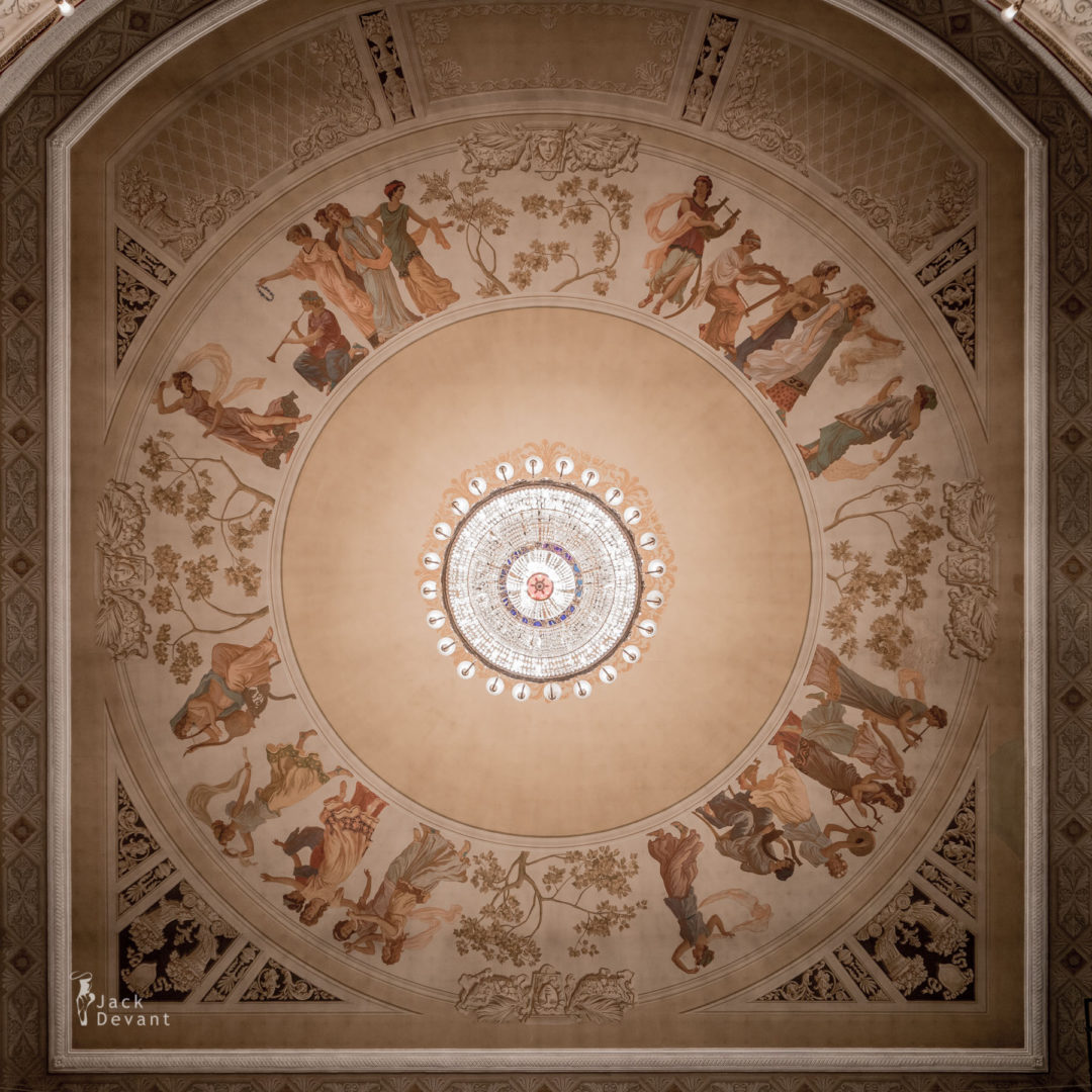 Perm Opera and Ballet Theatre ceiling paintings around chandelier