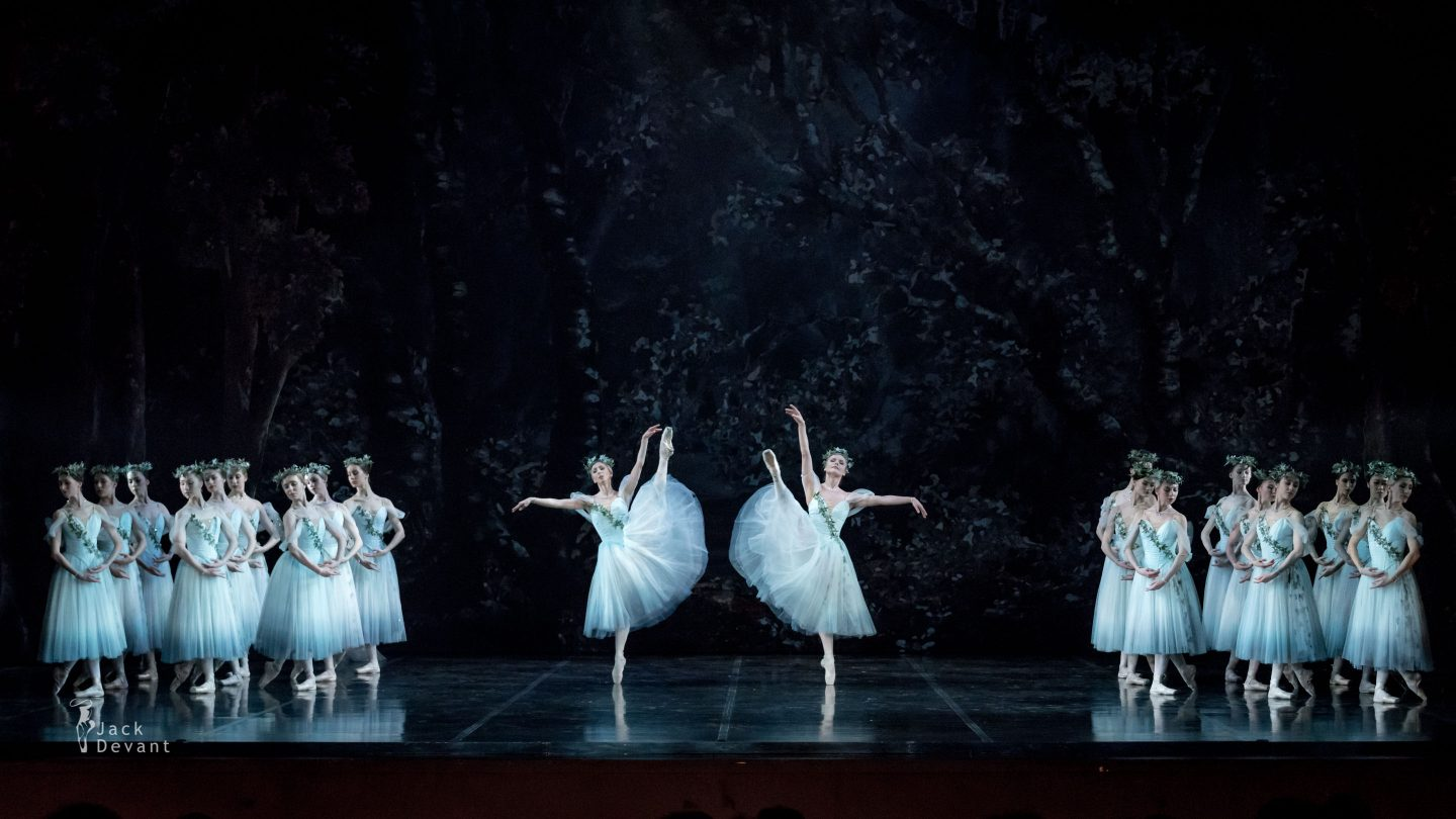 Marika Muiste and Heidi Kopti as Wilis Mona and Zulma and corps in Giselle Act 2