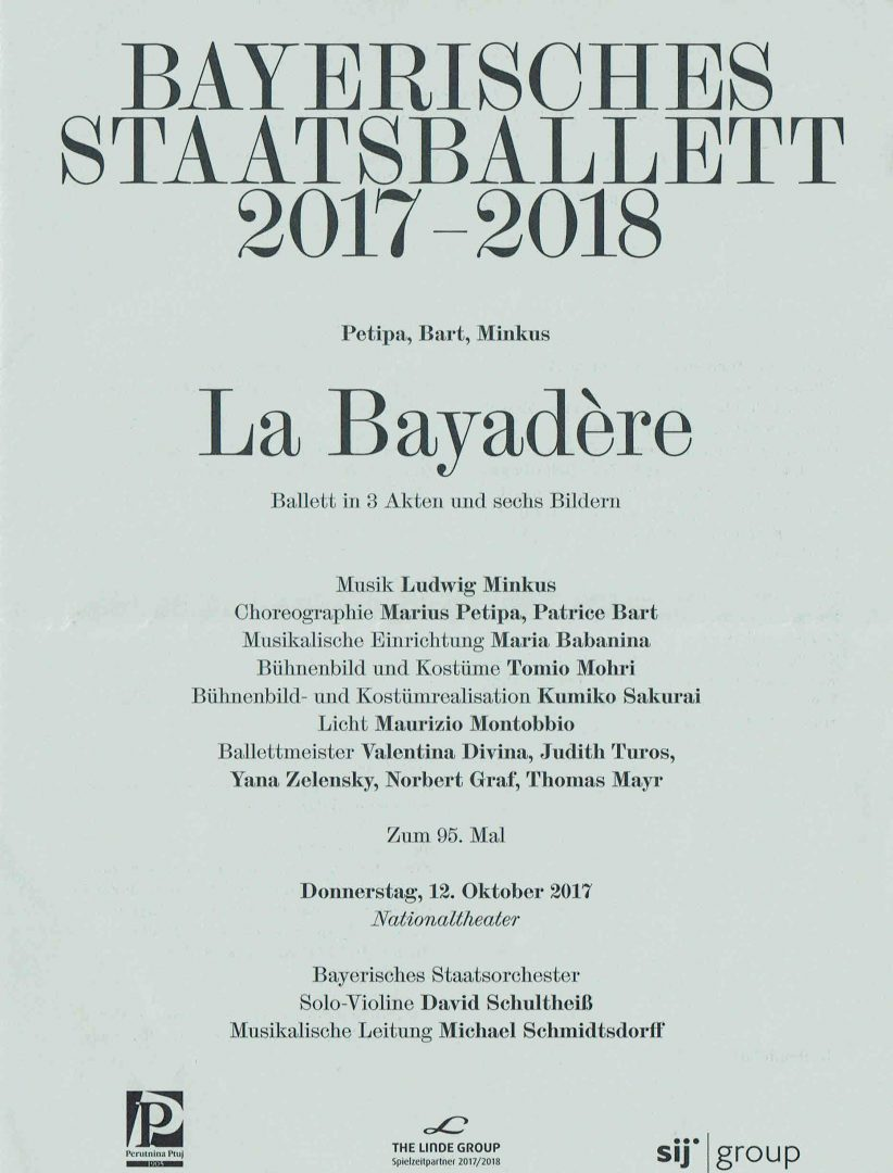 12.10.2017 Laurretta Summerscales, Sergei Polunin and Prisca Zeisel in La Bayadere, Munich