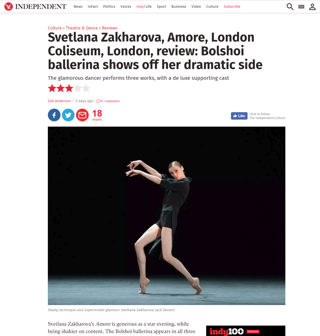Svetlana Zakharova in Amore for the Independent
