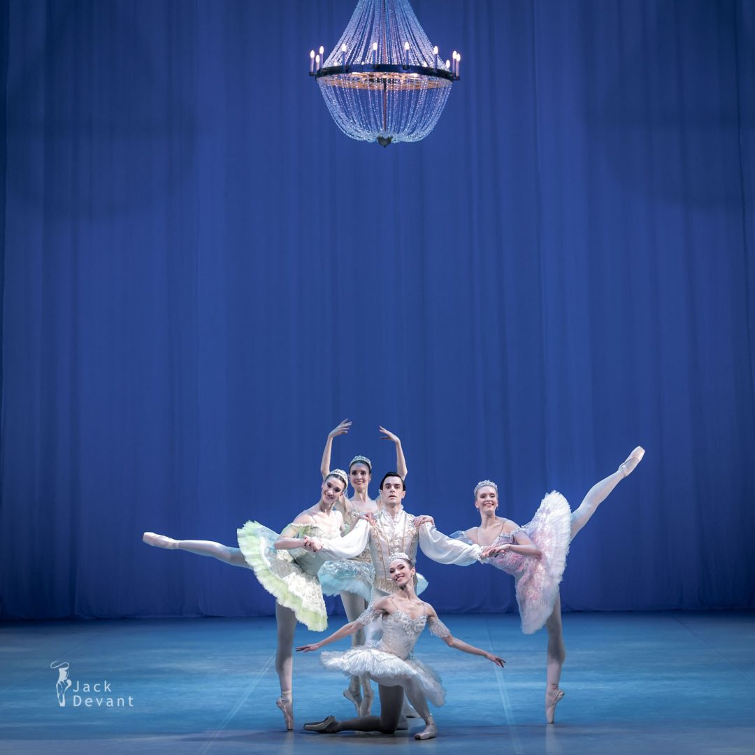 Raminta Rudžionyte, Lawrence Massie, Alexandra Foyen, Laura Quin and Amy Bowring in the pas de cinq the sleeping beauty