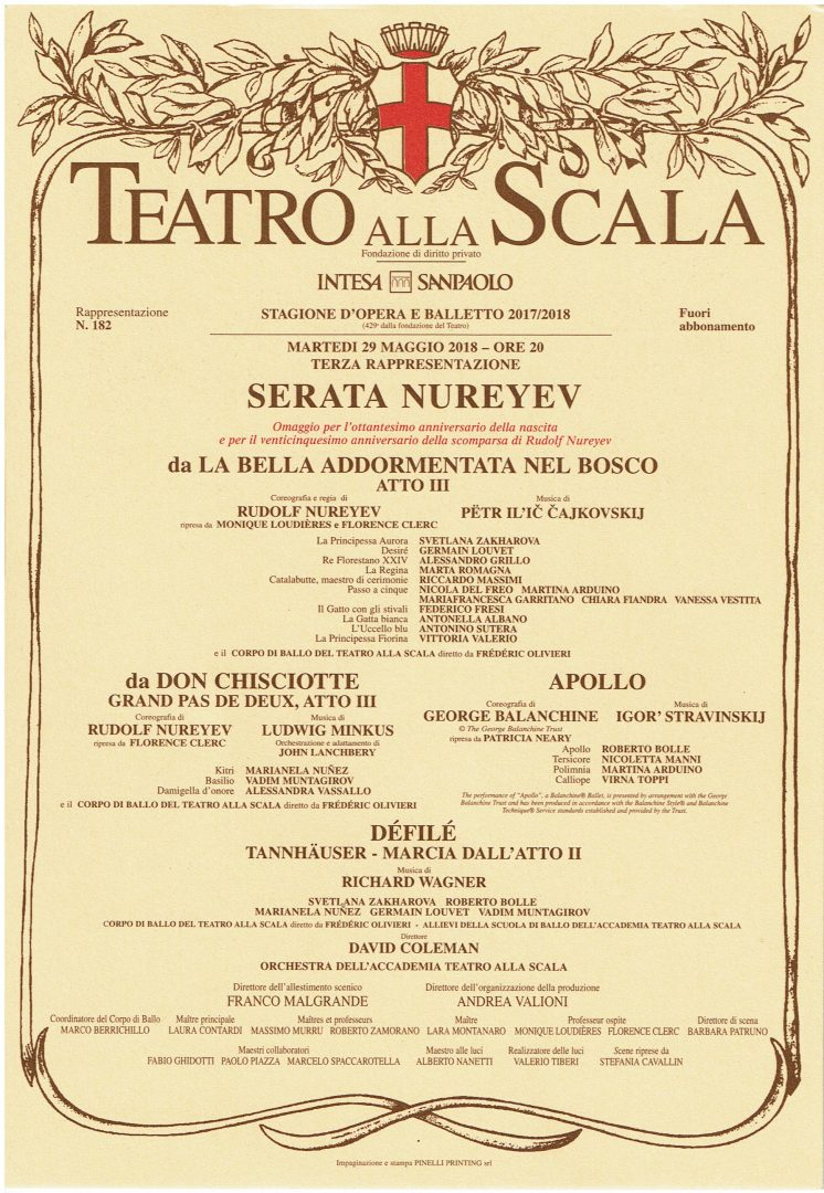 29.5.2018 Serata Nureyev La Scala program