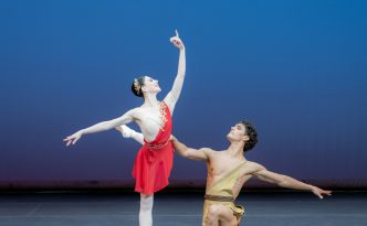 Maia Makhateli and Daniel Camargo in pas de deux of Diana and Actaeon from Esmeralda