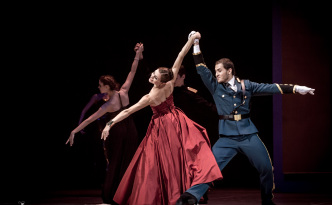 Olga Sizykh as Olga and Eugeny Poklitar as Officer in Tatiana