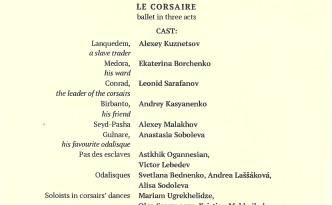 8.9.2015 Le Corsaire at Mikhailovsky premiere programme