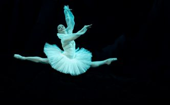 Tatiana Miltseva grand jete in Three Shades, La Bayadere