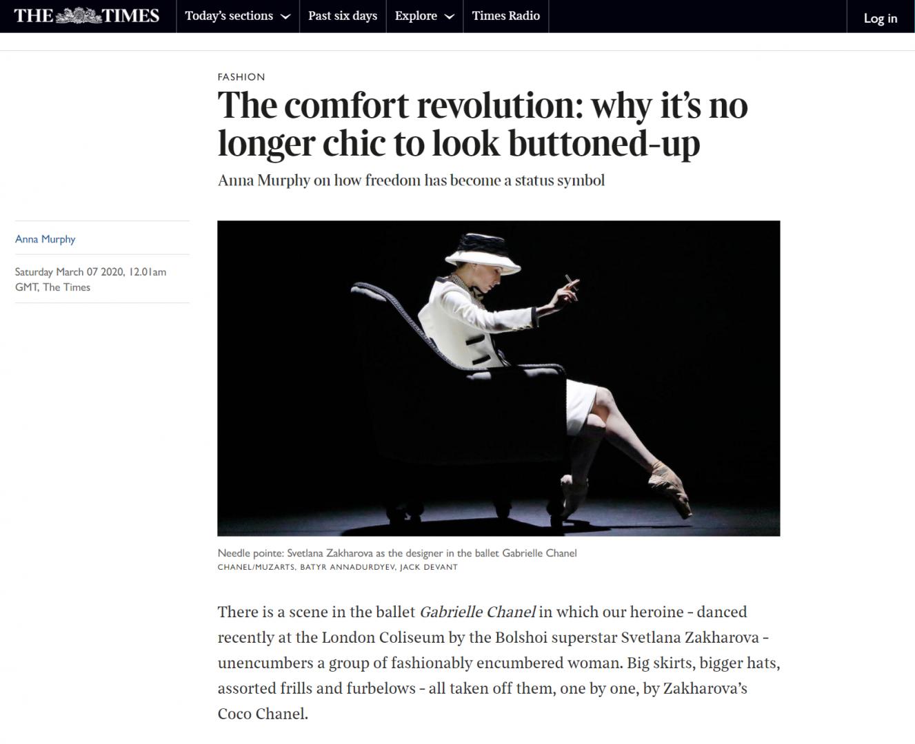 Gabrielle Chanel / Svetlana Zakharova photos for The Times